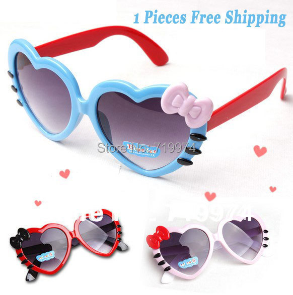 Lovely Cat Heart-Shaped Sunglasses For Girls Outdoor Female Child Sun-shading Bow Decoration Kids Sun Glasses Fashion Children09
