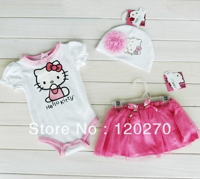 Free Shipping Summer Baby Girls Hello Kitty One-Piece Romper + Hat + Bow Tutu Skirt Infant Toddler Suits Children's Clothes Sets(China (Mainland))