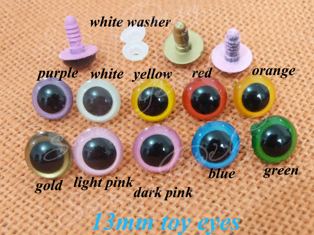 13mm multicolor plastic toy eyes with white color washer for decoration doll accessories---40pcs/lot(China (Mainland))