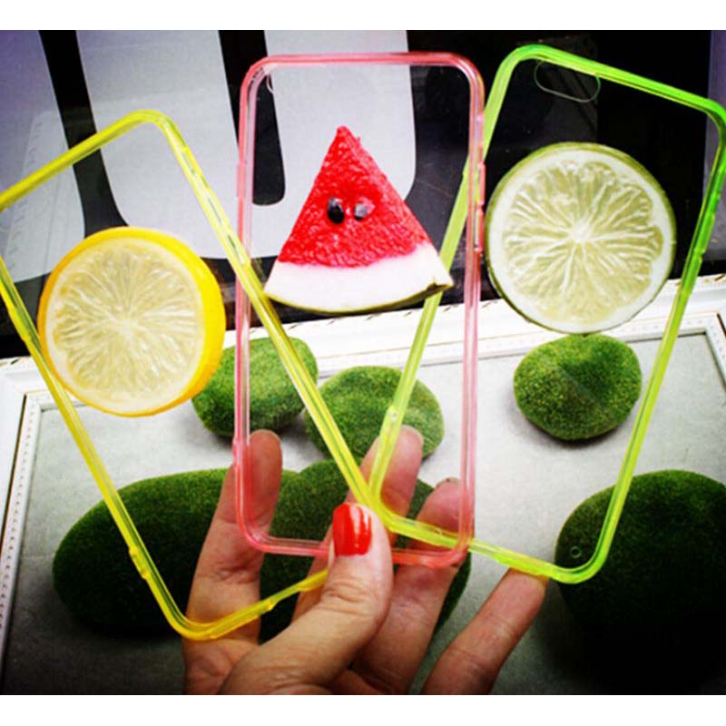 Funny Summer 3D Fruit Watermelon Lemon Orange Food Design Soft TPU+Crystal Clear PC Phone Cases For iPhone 5 5s 6 6S Plus C086(China (Mainland))