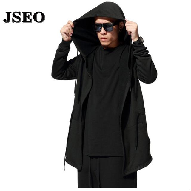 JSEO-Бесплатно 2016 Осень и Зима Мода Новый Черный Плащ С Капюшоном Мужской Уличной Хип-Хоп Длинные Толстовки Одежды Мужчин верхняя одежда Прохладный Человек