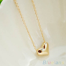 Women s fashion Jewelry Gold Plated Heart Bib Statement Chain Pendants Necklace 1Q6X