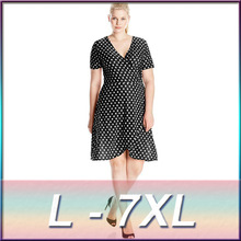 2016 new black dot chiffon fat MM plus size irregular Bohemian Polka Dot Dress free shipping Monica Fashion