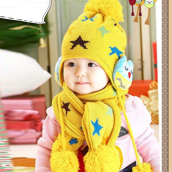 Child Baby Kids Beanie Crochet Earflap Hat Scarf+Cap 2pc Five Pointed Star Gift(China (Mainland))