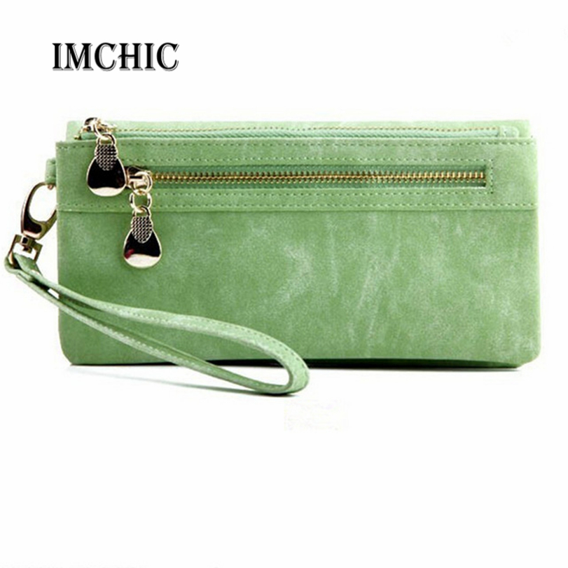 2016 Retro Pu Leather Women Wallets Coin Purse Phone Bag Clutch Wristlet Zippers Organizer carteira feminina vizitnica girls(China (Mainland))