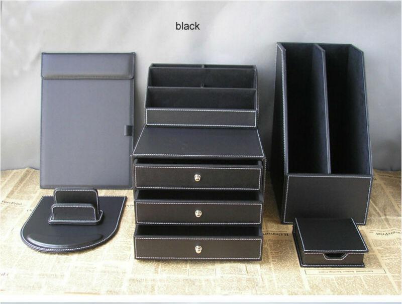 Buy 7pcs set pu leather office stationery - Leather desk organizer set ...