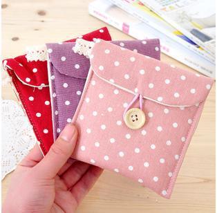 (5 pieces/lot) Korean Fresh wave cotton Tampon pads sanitary Pad napkin bag Dots sanitary Towel Change Coin Purse Storage Bag(China (Mainland))