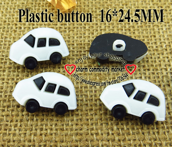 25PCS car shape white Dyed Plastic cartoons buttons coat boots sewing clothes accessories P-081-3(China (Mainland))