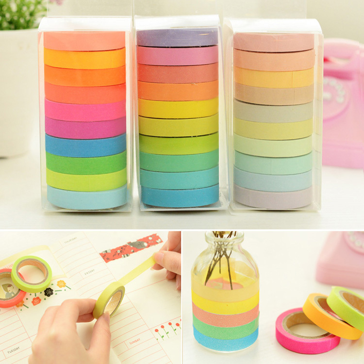 10Rolls masking tape Cute Decorative Tapes Adhesive Tape Washi paper Tapes Stickers Stationery sticker scrapbook Supplies r1463(China (Mainland))