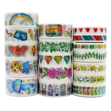 1Roll~17Rolls(Accept Select Design)15mm Japanese Washi Decorative Adhesive Tape Retro Flower Animals patterns Masking Paper Tape