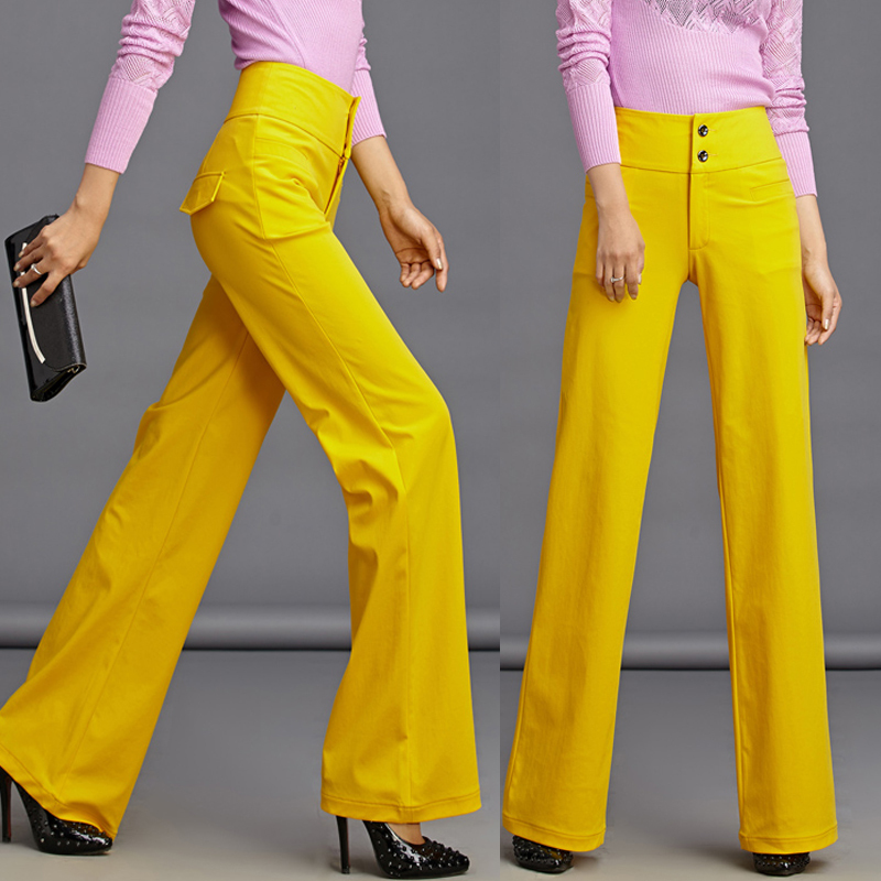 Online Get Cheap Wide Leg High Waist Pants for Women Yellow ...