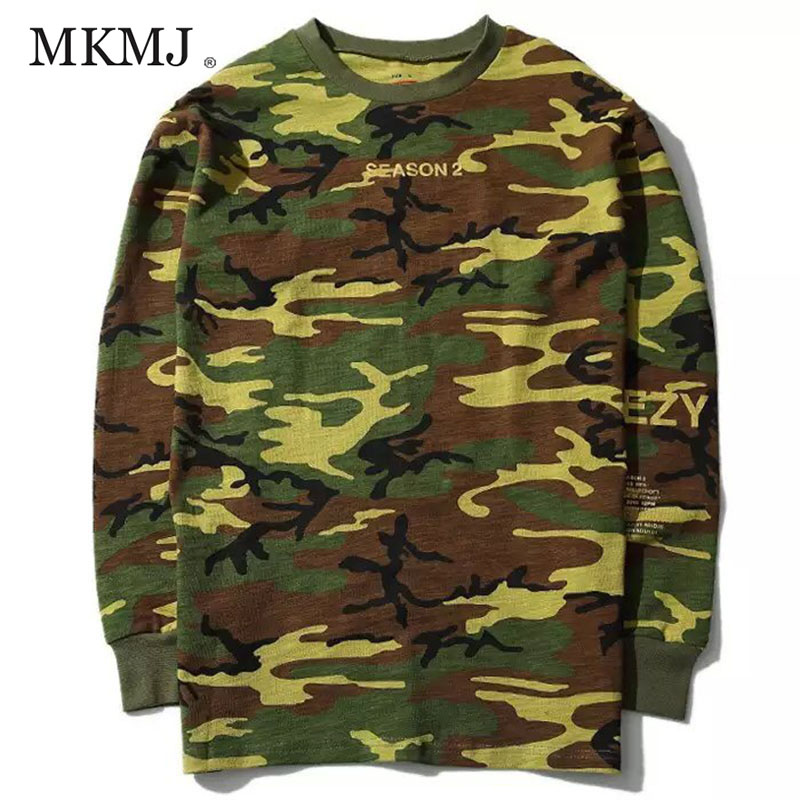 Long-sleeved T-shirts Hoodies Men Women YEEZUS Hiphop Casual Camouflage yeezy SEASON 2 Kanye West Sweatshirts Tee Shirts MCT026(China (Mainland))