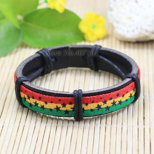 SF205- fashion jewelry handmade wrap genuine leather star bracelet Hemp rope women men unisex - SunFlower Trade Co.,Ltd store
