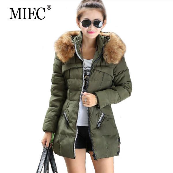 MIEC NEW 2016 Winter Women Coat Long Style Fashion Slim Fur Collar Casual Warm Parka Plus Size 3XL 4XL - Apparel Co., Ltd. store