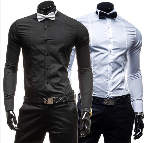 2015 Hot sale Men s fashion cravat slim long Sleeve tuxedo Shirts blouses free shipping
