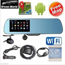 "Free EMS RU! 5""Touch Android GPS WiFi FM FHD 1080P dash camera parking car dvrs Rearview mirror video recorder Car DVR Dual Cam(China (Mainland))"