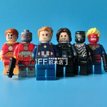 6Pcs/lot POGO Super Heroes Captain America Winter Soldier Building Blocks Toys Mini Figures Compatible with lego Minifigures