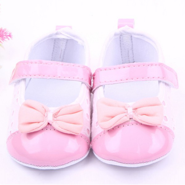 Girls Princess Pu Leather Crib Shose Toddler Soft Sole Shoes Bowknot Prewalker