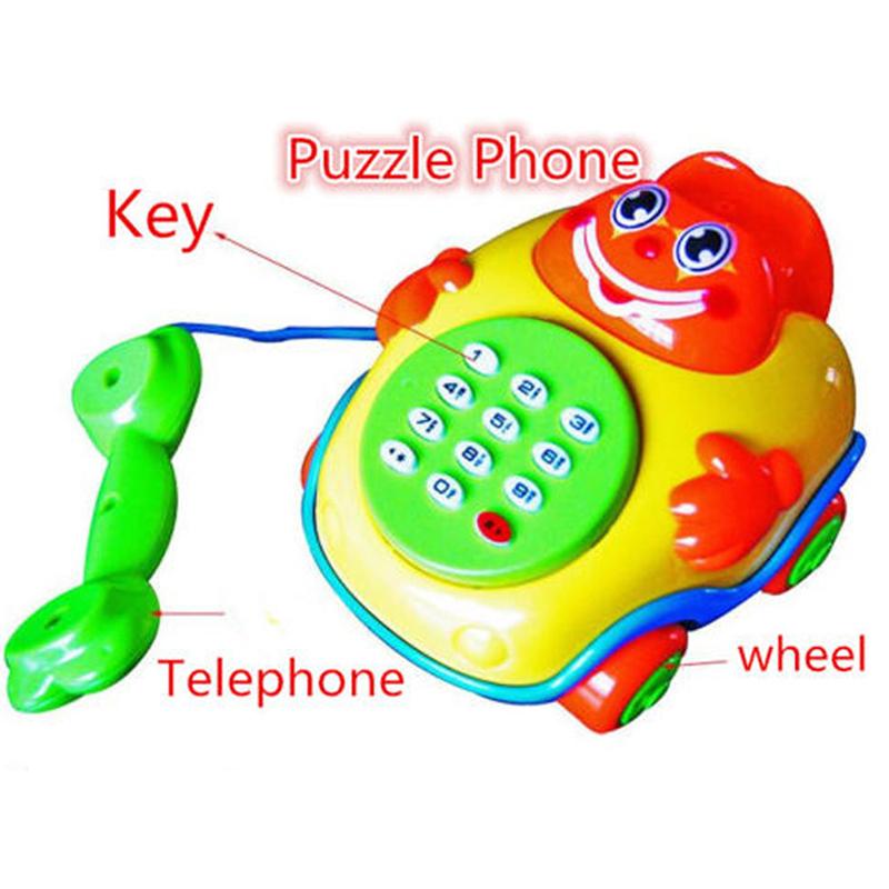 Music Cartoon Phone Developmental Boys And Girls Kids Gift Toy Electric Phone Machine Model Baby Children Educational Toys(China (Mainland))