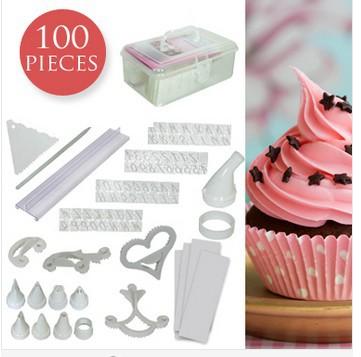 Cake Decorating Piping Letters : 100 Piece Cake Cupcake Decorating Kit Icing, Baking ...