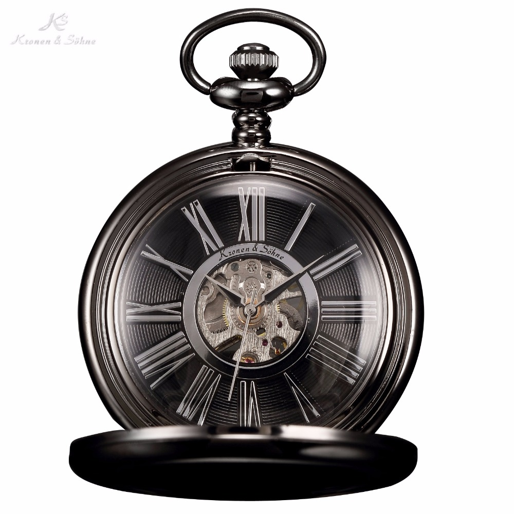 KS Black Skeleton Transparent Gear Roman Analog Hand Wind Clock Pendant Chain Jewelry Steampunk Mechanical Pocket Watch / KSP035(China (Mainland))