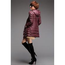 Women Winter Warm Ultra Light Small Packable Hooded Long Soild Coat Outwear Down Parkas