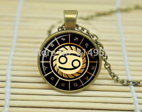 1pcs Cancer Necklace Cancer Pendant Zodiac Sign Pendant, Constellation Jewelry Glass Cabochon Necklace A1331(China (Mainland))