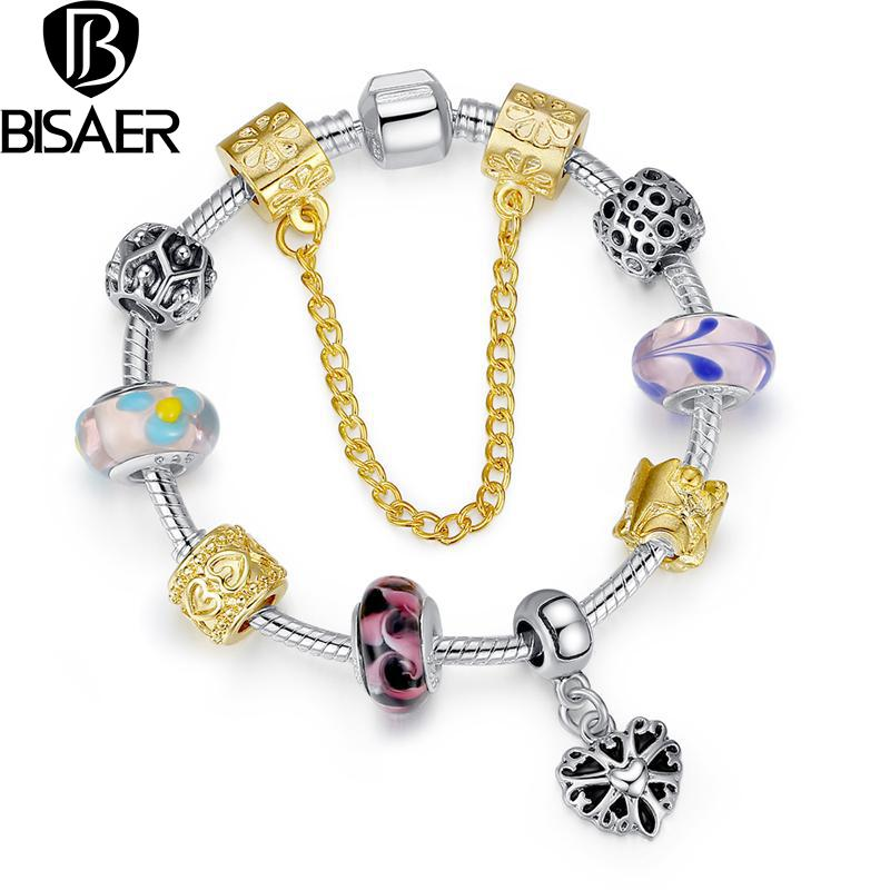BISAER Style Silver Plated Crystal Charm Bracelets With Gold Murano Glass Beads Handmade Jewelry Drop Shipping(China (Mainland))