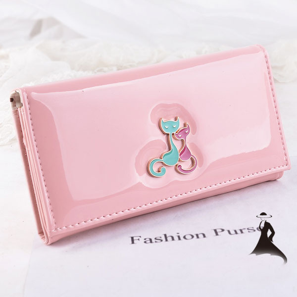Fashion Long Style Women Wallet Bright Leather Candy Color Lady Purse Delicate Dimond Double Cat Girl Lovely Change Purses(China (Mainland))
