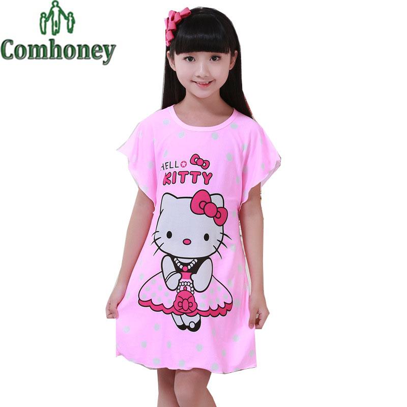 Hello Kitty Pajamas for Girls Princess Nightgown Summer Short Sleeve Girls Nightdress Cotton Children Pyjama Kids Nightgown(China (Mainland))