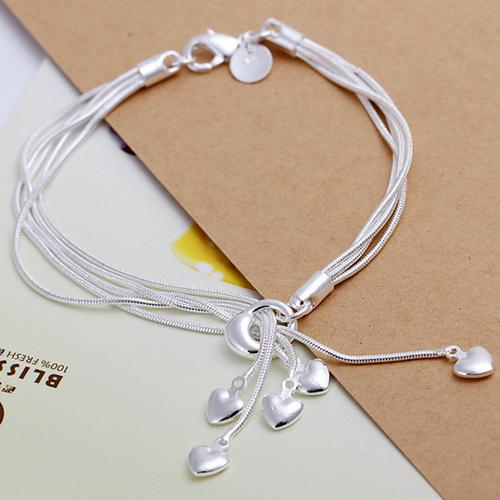 B087 Christmas gift 2014 New 925 sterling silver Fashion Jewelry TAIJI Heart charm bracelets&bangle,Wholesale jewelry(China (Mainland))