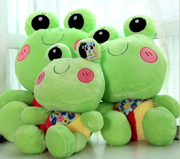 Large 50cm big eye cartoon frog toy doll scarf frog pillow cushion animal plush toy doll frog factory price Free Shipping(China (Mainland))