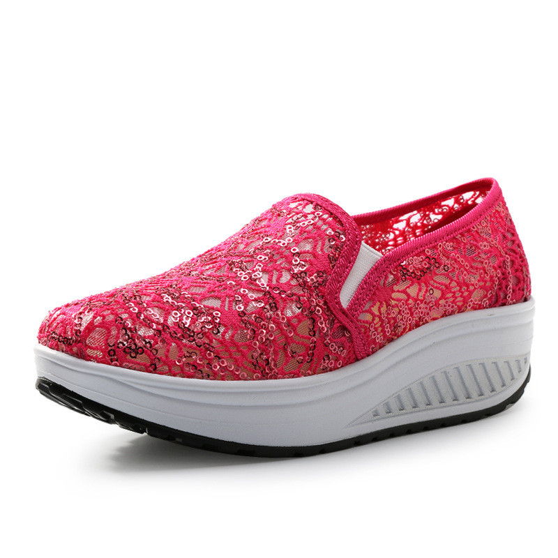Womens Summer Outdoor Shoes 2016 Hollow Lace Glitter Massage Swing Wedge Shoes Women Casual Shoes Platform Zapatillas Mujer(China (Mainland))