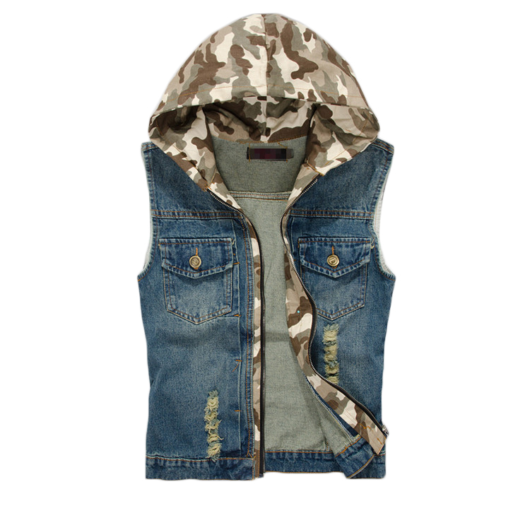 Men's Denim Jacket Sleeveless Vest Coat Hoodie Denim Vest Men Slim Fit Casual Coat Camo Hoodies Waistcoat Gilet Men Jeans Coat(China (Mainland))