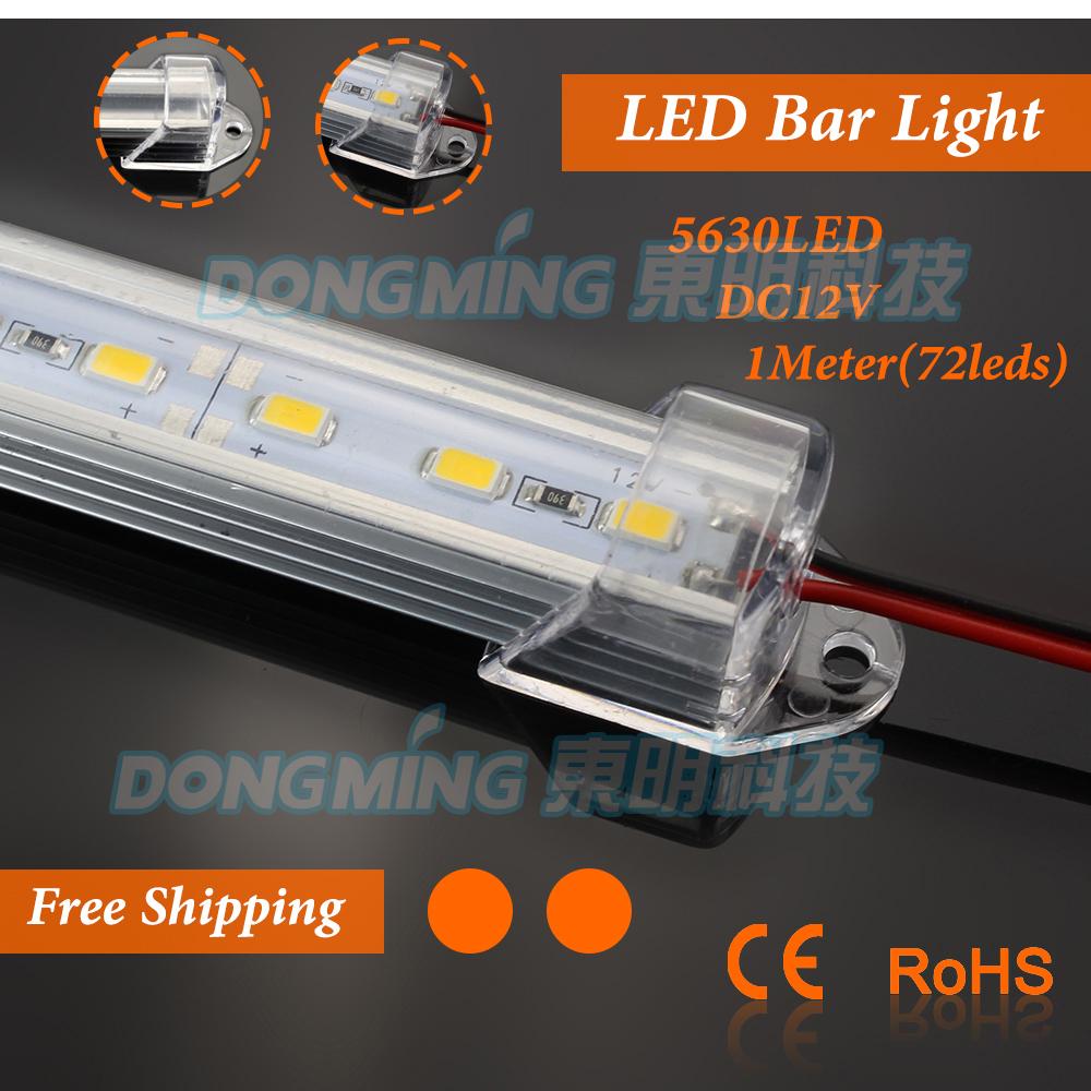 Nice product U profile led rigid strip 100cm SMD5630 72ledsle Clear/Milky PC cover IP22 led strip bar, LED light bar(China (Mainland))