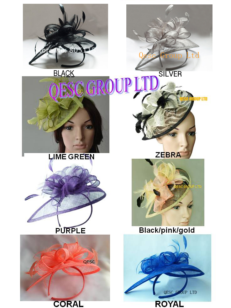 sinamay hat fascinator.red,navy blue,brown,neon green,purple,pink,coral,royal blue.(China (Mainland))