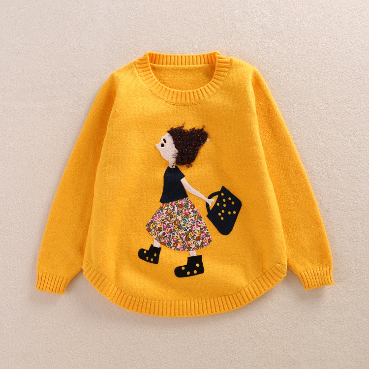 New 2016 Autumn Winter Children Clothing Girls Sweater Kids O-Neck Cashmere Sweaters Cute Character Outerwear Wool Pullovers(China (Mainland))