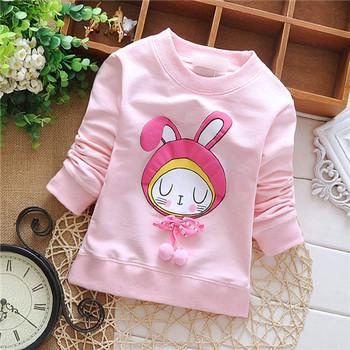 Девочка осень конфеты цвета рубашка милый маленький кролик узор дети толстовки малыш ...