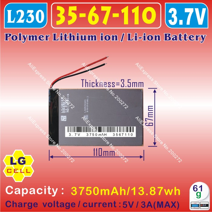 [L230] 3.7V,3750mAH,[3567110] Polymer lithium ion / Li-ion battery (LG cell) for tablet pc,CUBE,PIPO,NOVO7 Venus,Crystal,Elf(China (Mainland))