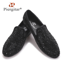 Men Black Crystal shoes GZ same paragraph shoes 2016 New Suede Genuine Leather Fashion Men's Flats Prom male loafers Size 4-17(China (Mainland))