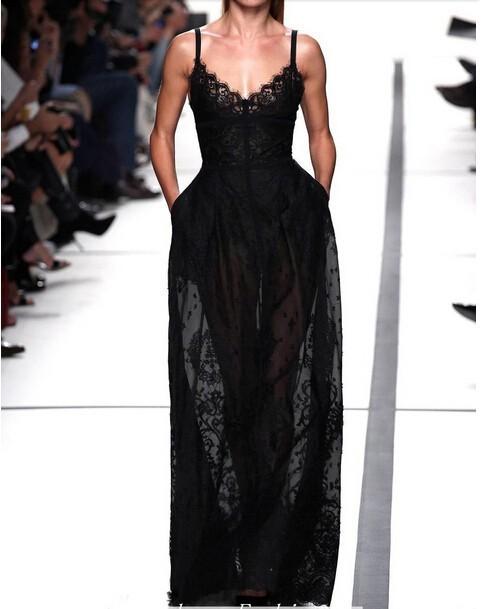 Women dress brand Sexy Spaghetti Strap Evening Party Dress Black And White Big Swing Lace Long Maxi Dress Women Free Shipping(China (Mainland))
