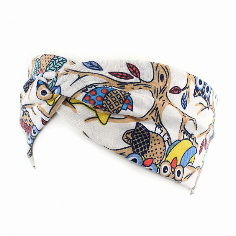 Women Fashion Pop Folk Style Cross Tie Headband Owl Headband Stretch Cotton Ribbon Sports Sweat Bands(China (Mainland))