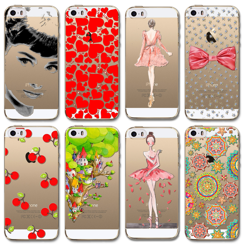Phone cases for Apple iPhone 5 5s SE Charming girls ladies Love patterns Soft Sillicon Transparent TPU Mobile phone Back Cover(China (Mainland))