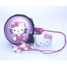 1pcs/lot High Quality Hello Kitty MP3 Music Player Clip MP3 Players Support TF Card With Earphone Mini USB Bag(China (Mainland))