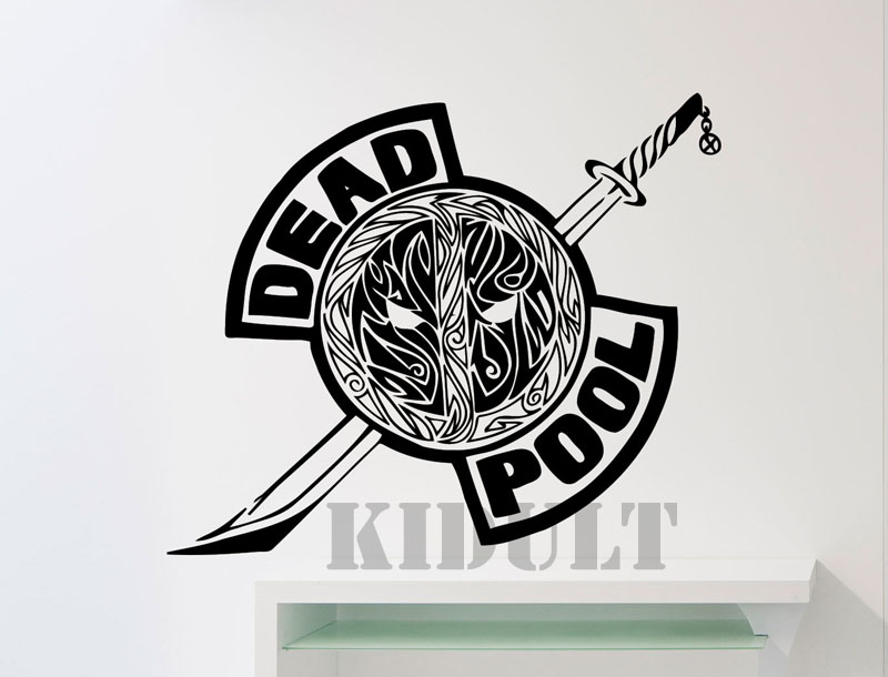 Deadpool LOGO wall sticker DC Marvel Comics superhero vinyl stickers Family Children's room interior wall decal Free shipping(China (Mainland))