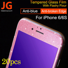 20pcs/lot Anti-blue Glitter Color 3D Curved Edge Screen Protector for iphone 6 Drop Proof Full Screen Tempered Glass Film for 6