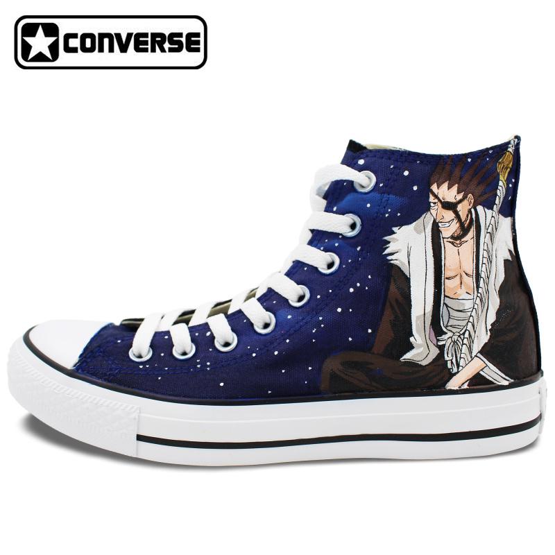 Anime Converse Chuck Taylor Custom Shoes Bleach Kurosaki Ichigo Kenpachi Design Hand Painted Men Women Sneakers - WenArtWork Store store