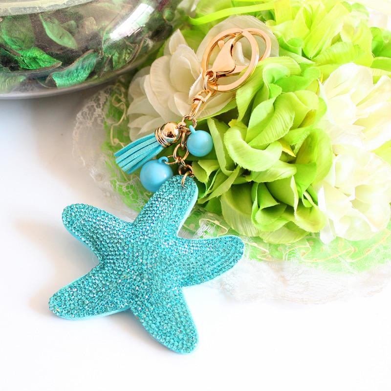 2015 Fashion Charm Rhinestone leather Starfish Tassel Pendant keychain alloy bag Key ring Holder for Women Gift Souvenir Jewelry(China (Mainland))