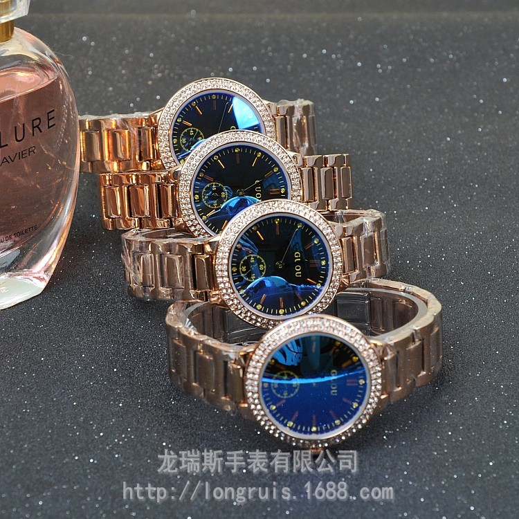 Высокое Качество HK GUOU Марка Водонепроницаемый женские Часы Кварцевые Часы Класса Люкс Из Нержавеющей Золото Стальной Браслет Стекла Подарочные Наручные Часы