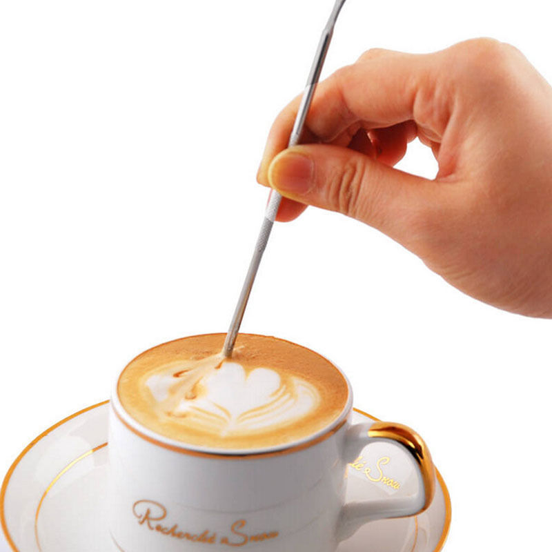 1PC Trendy Tool DIY Fancy Coffee Garland Needle Stainless Steel Carved Stick Art Pen Cappuccino Flower Pin Stipa Coffee Tools(China (Mainland))
